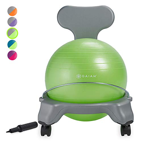 Gaiam Kids Balance Ball Chair - Classic Children's Stability Ball Chair, Alternative School Classroom Flexible Desk Seating for Active Students with Satisfaction Guarantee, Green