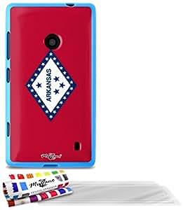 """Carcasa Flexible Ultra-Slim NOKIA LUMIA 520 de exclusivo motivo [Arkansas Bandera] [Azul] de MUZZANO  + 3 Pelliculas de Pantalla """"UltraClear"""" + ESTILETE y PAÑO MUZZANO REGALADOS - La Protección Antigolpes ULTIMA, ELEGANTE Y DURADERA para su NOKIA LUMIA 520"""