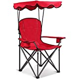 FDInspiration Red Foldable Beach Canopy Chair w/Cup Holders & Carrying Bag with Ebook
