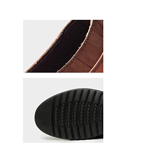 Stagione Tela Uomo Colore Affari A Scarpe Nastro Casual Tondo Sandali Sportivi Brown Punta Pelle in Morbido Stivali HRx7vd
