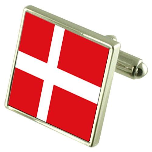 Danemark Drapeau en Argent Sterling gravé en manchette boîte personnalisée