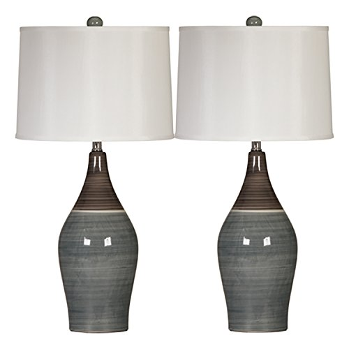 Beige Ceramic Table Lamp - Ashley Furniture Signature Design -  Niobe Ceramic Table Lamp - Set of 2 - Multicolored/Gray