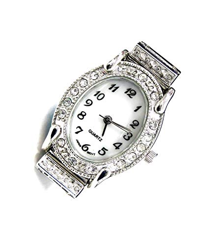 Linpeng Watch Face for Crafts, Beading Jewelry Making / 24x30mm /Oval Silver Frame with Rhinestone Edge/Geneva Style/Japan Movement/Battery Included / - Beaded Watch Interchangeable Silver