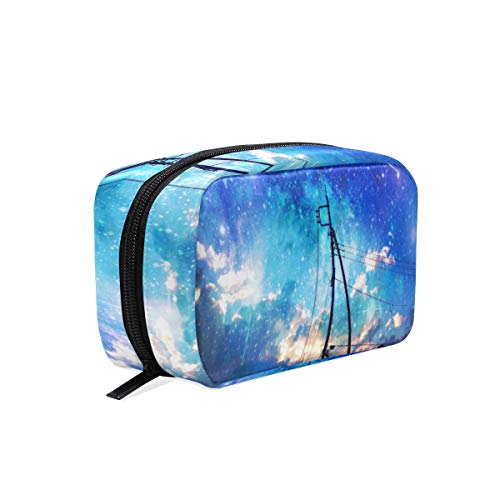 Makeup Bags Starry Sky Over The City Cosmetic Bag Square Organizer Pouch Portable Pencil Storage Case for Women