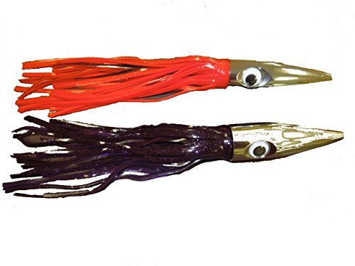 Wahoo Sniper High Speed Bullet Head Jetted Fishing Lures 2 Pack Red and Black and Purple and Black