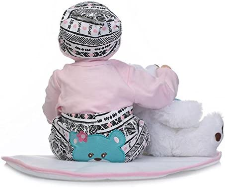 NPKPINK Reborn Baby Dolls Girl Clothes Outfits for 20-22 Reborn Doll Baby Girl Matching Clothing Accessories 4 Piece Set