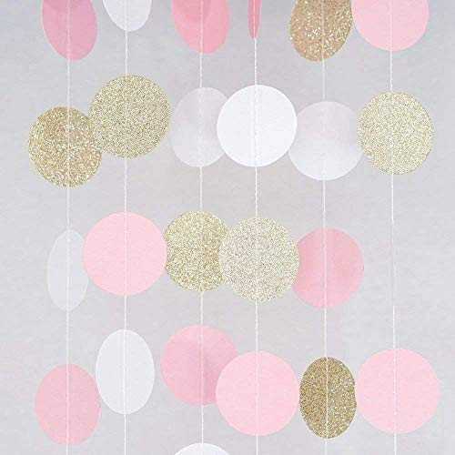 (MerryNine Paper Garland, 5 Pack 50ft Glitter Paper Garland Circle Dots Hanging Decor, Paper Banner for Baby Shower, Birthday, Nursery Party Decor(Circle Polka Dots-Pink White Gold-50)