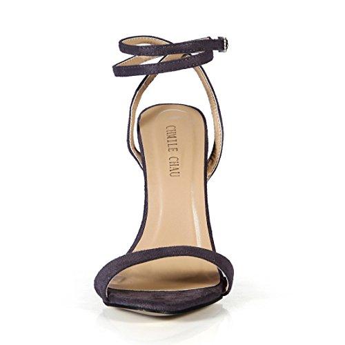 CHAU Spillo a Scarpe suede Partito Donna a Moda Metallo Grigio Sandali Sexy Alto alla Tacco CHMILE da Tacco Caviglia Cinturino qpdwqR8