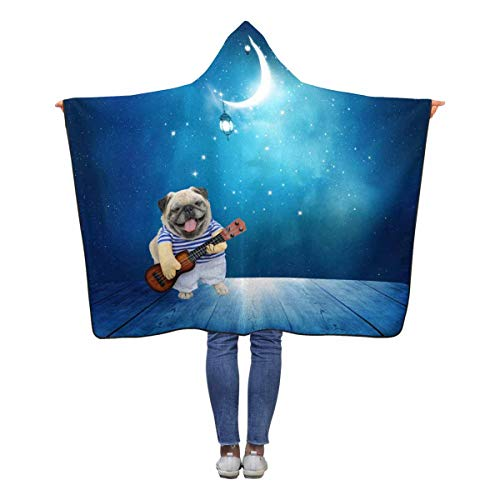 INTERESTPRINT Musician Guitarist Pug Dog Hooded Throw Blanket 60 x 50 inches Kids Girls Boys Toddler Polar Fleece Blankets with ()