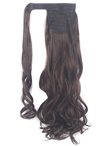 Lelinta 18'' Wavy Curly Wrap Around Ponytail Extension for Woman Synthetic Hair Extension, 18 Inch-Curly, Medium Brown-curly