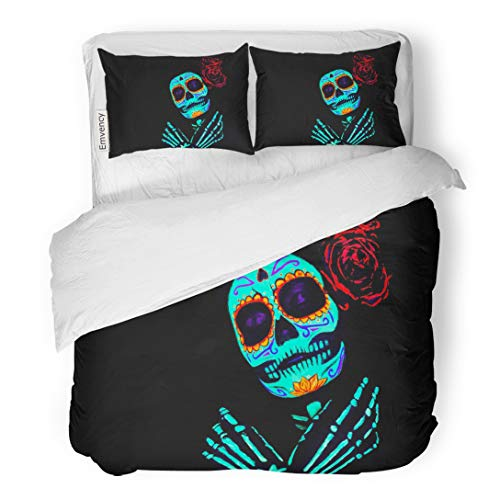 (Tarolo Bedding Duvet Cover Set Young Girl Santa Muerte Saint Death Sugar Skull Bright Make Up Studio Neon Light Celebrating Halloween 3 Piece King 104