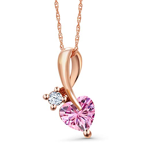 Gem Stone King 10K Rose Gold Pendant Heart Shape Pink Created Moissanite and Created Sapphire White 0.80ct (DEW)