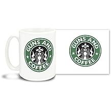 Guns and Coffee - 15 oz Large Ceramic Coffee Mug VIVID FULL-COLOR