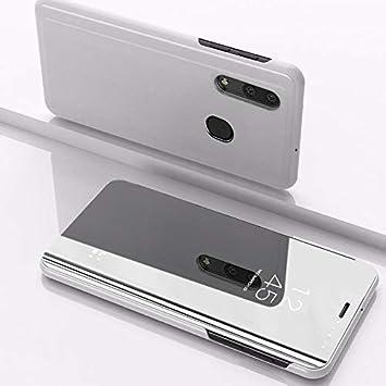 SWMGO® Espejo Enchapado Flip Funda para Samsung Galaxy A50 (Plata ...