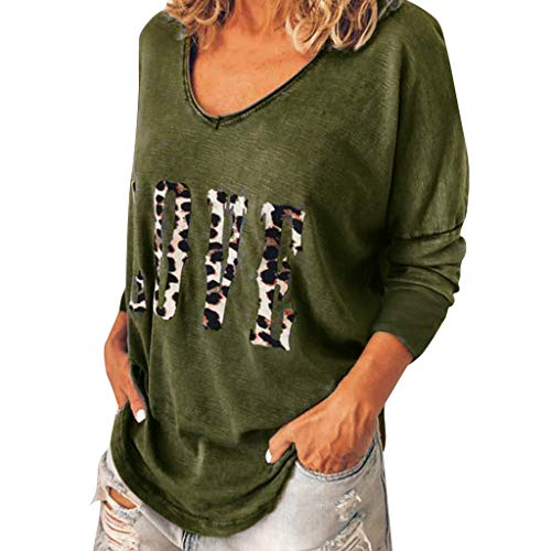 【MOHOLL】 Women Long Sleeve Leopard T-Shirt Loose Top Love Print Top Casual Blouse Autumn Tee Plus Size Army Green