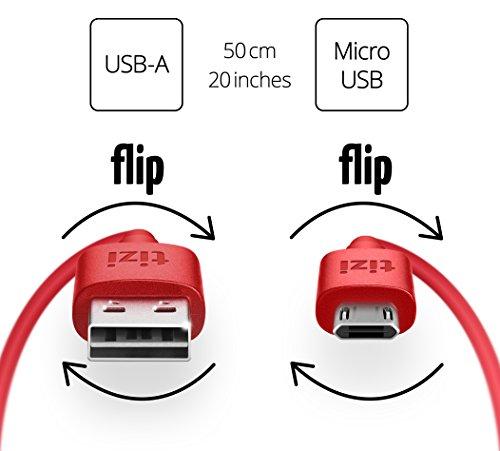 equinux Tizi Flip - Micro USB (50cm, rot) Daten- und Ladekabel mit doppelseitigen Reversible Steckern. Micro USB und USB-A Stecker beidseitig steckbar. Kabel mit umkehrbaren Micro-USB Anschlüssen.