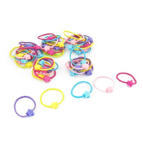 DealMux 50 Pcs Pentagram Ornament Elastic Hair Ponytail Band Holder for Girls