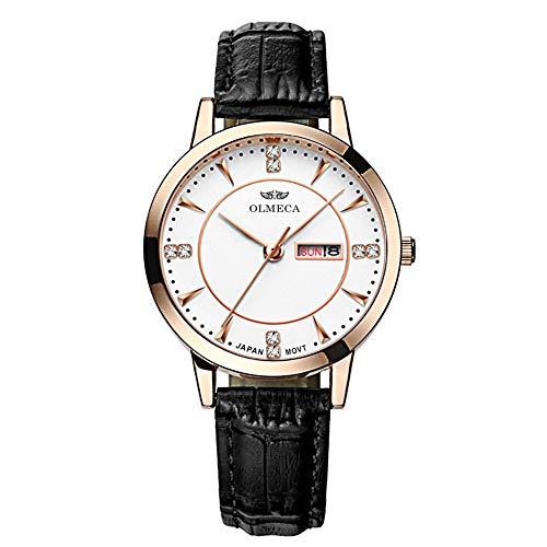 OLMECA Mens Watches Fashion Simple Watches Ultra Thin Wristwatches Waterproof Quartz Women Watches Chronograph Watch for Men (Z-Black)