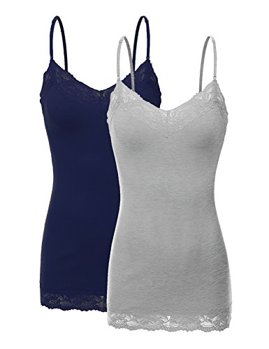 Lace Spaghetti Strap Camisole (RT1004 Pack Ladies Adjustable Spaghetti Strap Lace Tunic Camisole 2Pack-HE.GRY/Navy M)