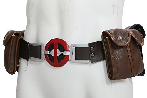 Deadpool Costume Colors (X Cosplay Men DP New Version Leather Belt with 6 pockets Costume Accessories)