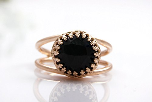 Black onyx ring,rose gold ring,pink gold ring,everyday ring,black diamond ring,faceted gemstone ring - Onyx Rose Ring