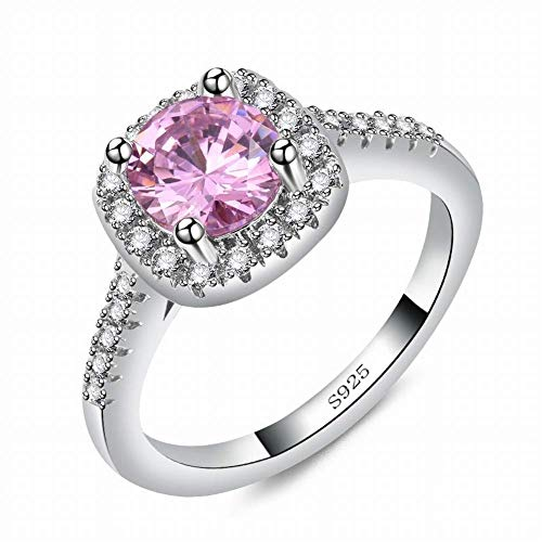Aoxishiye Female Classic Engagement Zircon Crown Attend Cocktail Party Ring Zircon Studded Diamond Ring (Color : Pink, Size : 8)