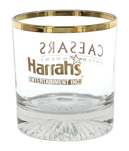 Set Of 4 Limited Edition Whiskey Glasses Commemorating Harrahs And Caesars 2005 Merger