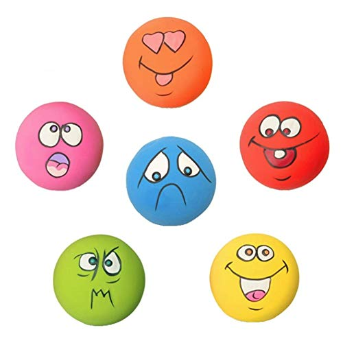 HDSX Squeaky Pet Toys for Cat Dog Teeth Squeaker Ball Puppy Squeaky Sound Face Fetch Play Toy 6 Pcs/Set (Round Dog Toys)