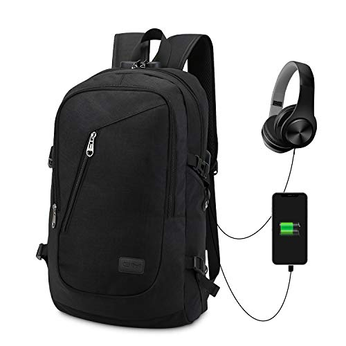 Port and Port Charging Bag Resistant GIM Anti Slim Theft for Backpack Backpack College Lock Laptop 1 Rucksack Theft Work Computer Water Daypack Earphone with Grey with USB 6 black 2 Inch 15 Business qxOvwPx