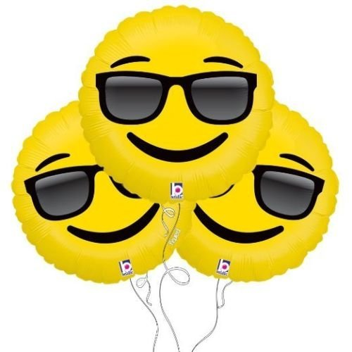 Too Cool Sunglasses Emoji Helium Foil Balloons 3 Pack 18 Damask Yellow by -