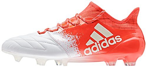 adidas X 16.1 Fg Leather W, Botas de Fútbol Unisex Adulto Blanco (Ftwbla / Ftwbla / Rojsol)