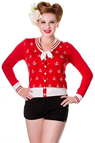 Banned Ahoy Pinup Sailor Anchor Bow Cardigan (S, Red)