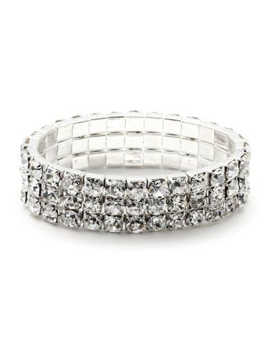 Topwholesalejewel Silver Crystal Rhinestone 3 Rows Stretch Bracelet ()