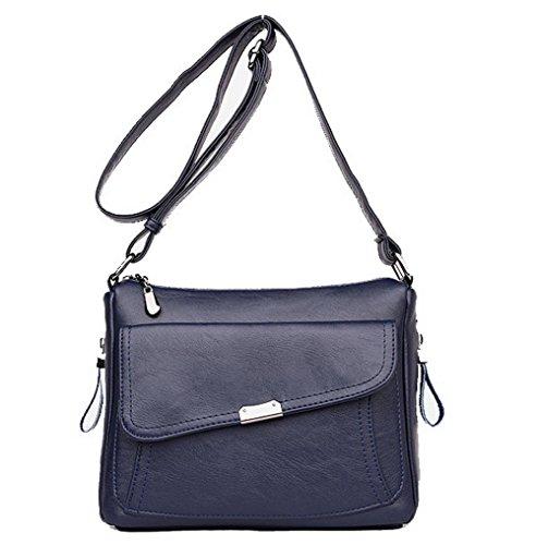 VogueZone009 Femme Achats Sacs à bandoulière Zippers Travail Sacs à bandoulière, CCAFBP181617, Bleu Bleu