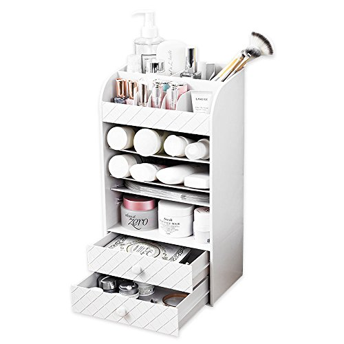 Baffect White Makeup Organiser Jewellery Beauty Storage Box Cosmetic Holders Accessories with 2 Make Up drawers Display Boxes For Polish Varnish Arts Crafts Brush Sets Bathroom Bedroom Desktop Table