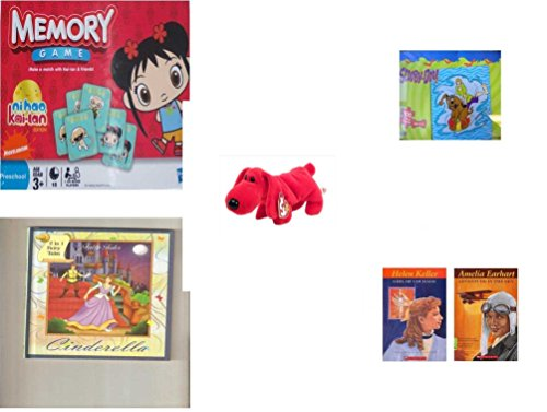 Children's Gift Bundle - Ages 3-5 [5 Piece] - Ni Hao Kai-LAN Edition Memory Game - Scooby Doo & Shaggy 100 Piece Puzzle Toy - Beanie Baby - Rover The Red Dog - 2 in 1 Fairy Tales: Cinderella/Ugly