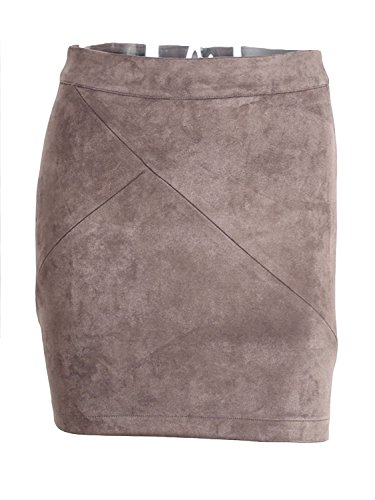 Simplee Apparel Women's High Waist Faux Suede Mini Short Bodycon Skirt (12 Brown)