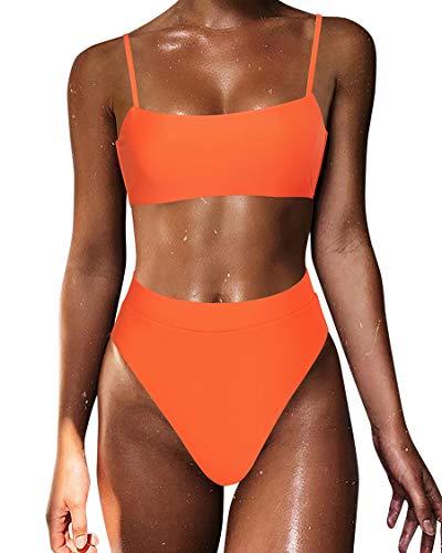 MOSHENGQI Sexy Push up Bikini Sets High Waist Swimsuits for Women Spaghetti Straps (Medium, Orange)
