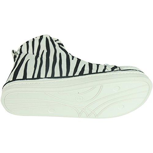 White Women's Plush Sneaker Outdoor Winter Warm Zebra Boots Slipper Home Slippers Indoor House fwWq5P66U