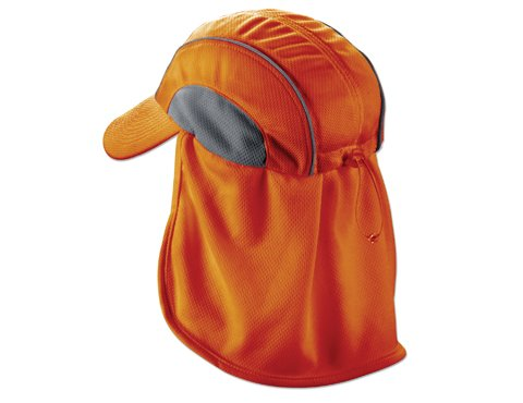 Ergodyne Chill-Its 6650 High Performance Hat w/ Neck Shade- Orange - Pack 6 by Ergodyne