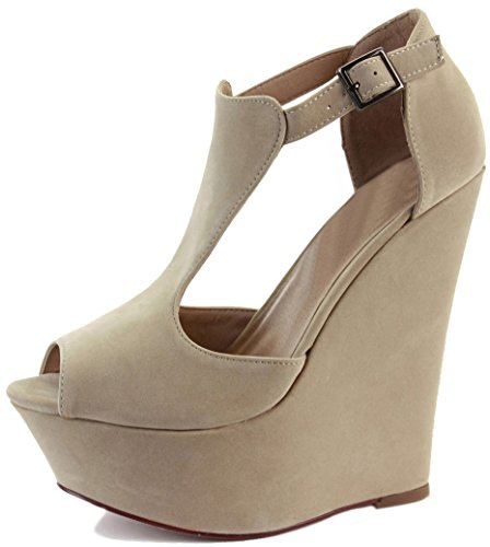 NEW WOMENS LADIES LOW MID HIGH HEEL STRAPPY WEDGES PEEP TOE SUMMER PLATFORM SANDALS SHOES SIZE Style 6 - Beige LNzuSC