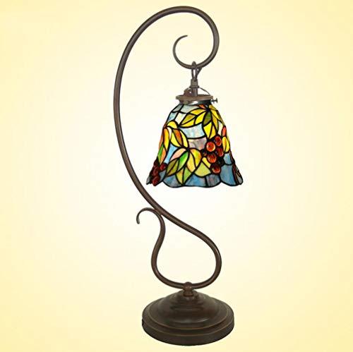 (Tiffany Style Table Desk Lamps,Bedroom Bedside Desk Light,Stained Glass Metal Base Living Room Reading,110V-220V E14x1 Study Lamp Cafe Bar Decoration (Without Light Bulb),110V)