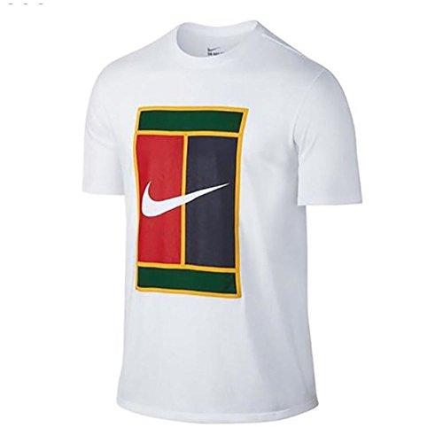 Nike Men's White/Court Heritage Logo Tee Graphic T-Shirt - - T-shirt Nike Logo