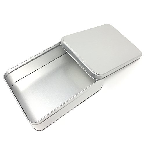 - 7.3 by 5.2 by 2.6 Inch Rectangular Empty Tin Box Containers, Gift, Jewelery and Storage Tin Kit, Home Organizer,Silver