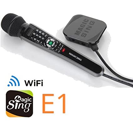 New 2018 MagicSing E-1 Smart Home Karaoke System Microphone Stream 10,000+  English/American Songs · Requires WiFi · Free 2-Month Subscription Code