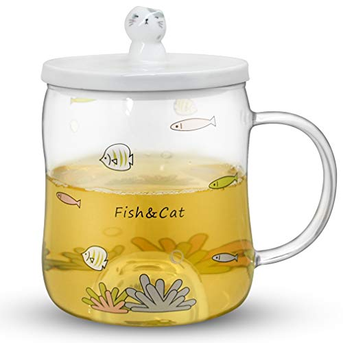Notrefly Cute Cat Mug Funny High Borosilicate Glass