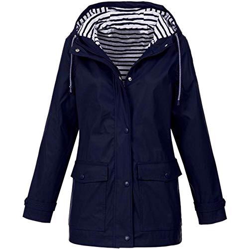 Gap Long Jeans - HGWXX7 Women Solid Rain Jacket Outdoor Plus Size Coats Waterproof Hooded Raincoat Windproof(S,Dark Blue)