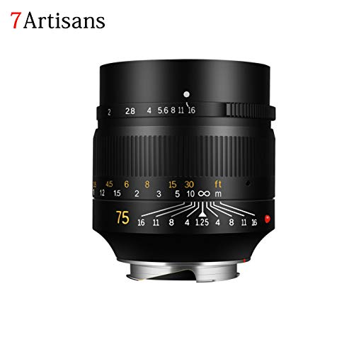 7artisans 75mm F1.25 Fixed Mirrorless Camera Lens for Leica M-Mount Cameras Like Leica M-M Leica M240 Leica M3 Leica M6 Leica M7 Leica M8 Leica M9 Leica M9p Leica M10 (Presale)