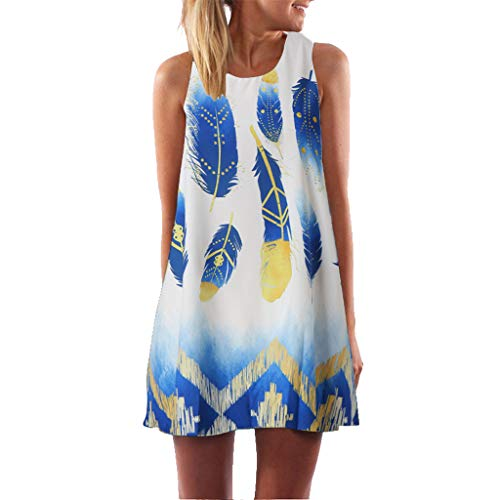 Snowlily SuitDress,Casual Women's Vintage Bohemian Summer Sleeveless Beach Feather Print Short Confortable Mini Dress White