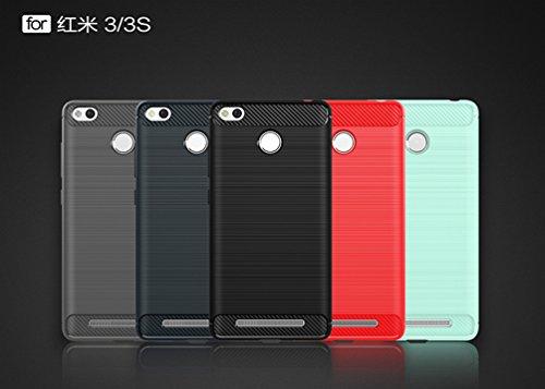 Funda Xiaomi Redmi 3,Alta Calidad Anti-Rasguño y Resistente Huellas Dactilares Totalmente Protectora Caso de Cover Case Material de fibra de carbono TPU Adecuado para el Xiaomi Redmi 3 A